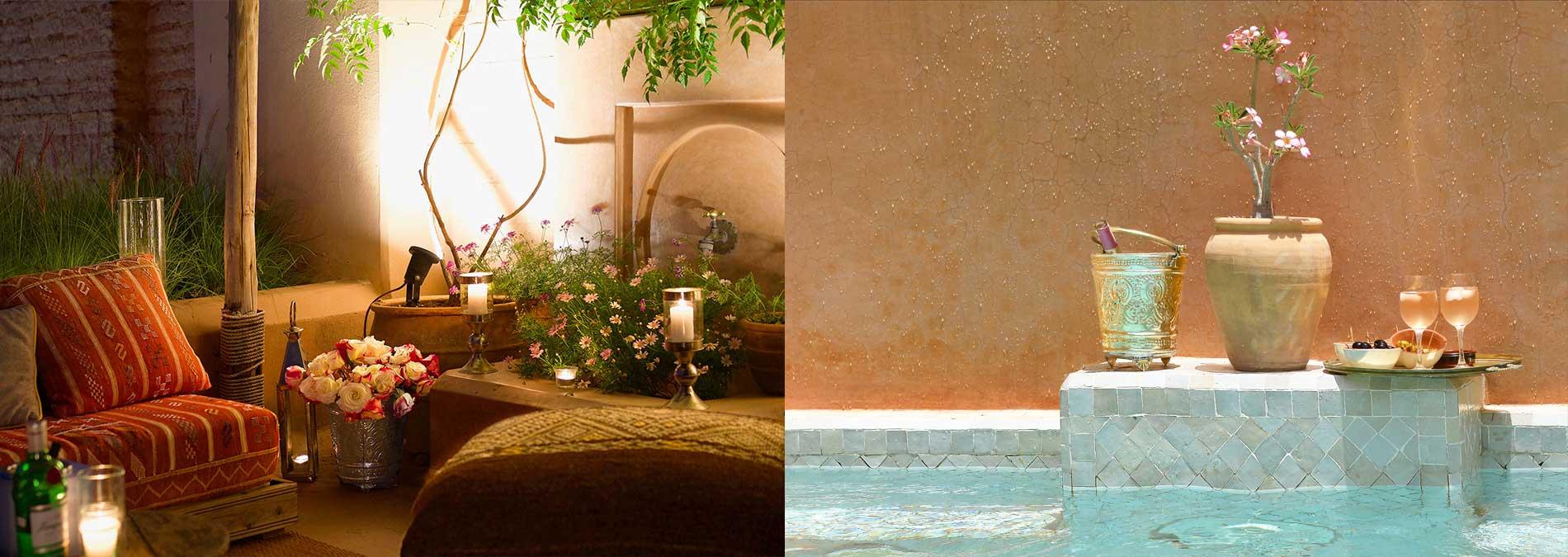 terrasse et piscine du riad Dar Housnia à Marrakech
